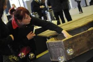 our locally sourced oak coffins were also used for serving  the Gothic cup cakes!!