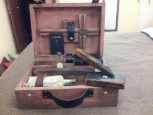 Unusual item in my luggage on my trip to Oxford. Vampire Slaying Kit (circa 1920).