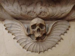 Our very own fourteenth- century vampire! A winged skull in St Albans Abbey.
