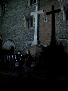 Catherine Spooner and Matt Beresford protected from a vampire attack by a rather sublime cross-and its dark shadow