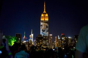 Large images of endangered species are projected on the south facade of The Empire State Building, Saturday, Aug. 1, 2015, in New York. The large scale projections are in part inspired by and produced by the filmmakers of an upcoming documentary called